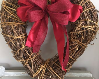 Large Valentine heart - large heart door wreath - Door wreath - heart door wreath - red door wreath - door decor- valentine gift