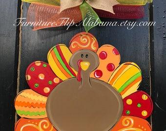 Turkey door hanger thanksgiving turkey door hanger fall door hanger wooden door hanger & Turkey door hanger thanksgiving turkey door hanger fall door Pezcame.Com