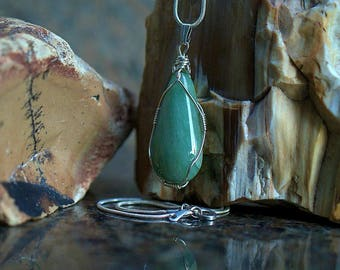 Silver wire wrapped pear shape Aventurine pendant with a silver plated necklace