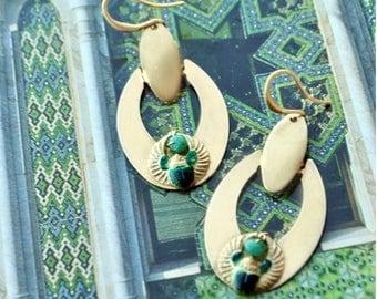 Brass hook Emerald gemstone scarab earrings gold