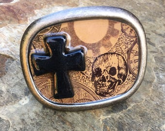 mens belt buckle cross belt buckle women's belt buckle skull belt buckle gypsy belt buckle religious belt buckle steampunk goth