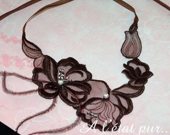 Dentelleet necklace brown feathers