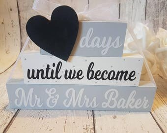 Personalised Wedding Countdown - Countdown Blocks - Engagement Gift - Gift For Engagement - Countdown To Wedding - Days Until Mr and Mrs