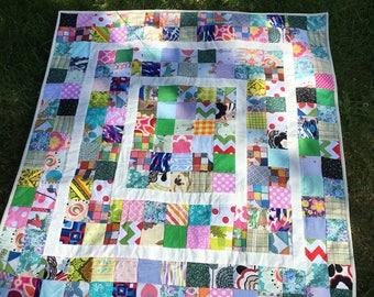 Scrap quilt , READY TO SHIP , Modern baby quilt ,mat for baby ,crib blanket ,modern quilt ,46 x 43 inch