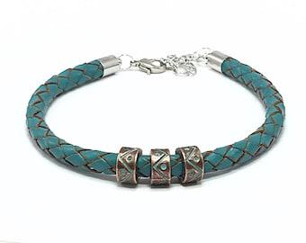 Men's Leather Bracelet, Aqua Bracelet, Mens Bracelet, Leather Cord Bracelet, Bracelets for Boyfriend, Leather Jewelry, Gift Ideas