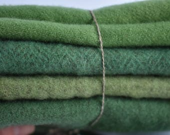 """Hand dyed wool bundle of """"Greens"""" - wool supply - wool projects - rug hooking - penny rugs - appliqué - 4 pieces of different handdyed green"""