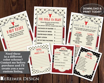Woodland Shower Games, Buffalo Plaid, Well Wishes, Advice Card, Baby Predictions, Price Is Right, Purse Game, Baby Food Game, DIY Printing
