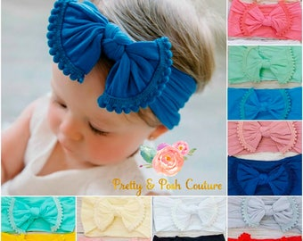 Nylon Baby Headband,Baby Headbands,Newborn Headband,Nylon Headband,Baby Girl Headbands,Hair Bows,Infant Toddler Headbands,Baby Bows,Pink Bow