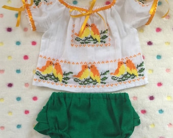 Beautiful  colorful birds  embriodered  baby blouse with  bloomer and headband.