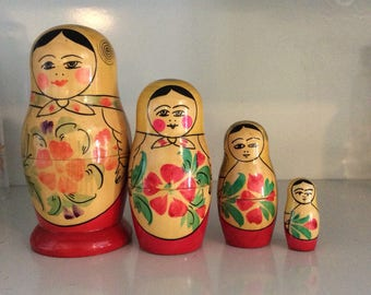 Vintage Set of Four Russian Nesting Dolls/USSR/Wooden Stacking Dolls/Collectable Dolls