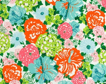 Lilly Pulitzer- OUTDOOR -Heritage Floral- Aqua Orange- Fabric By The Yard