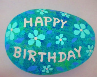 Painted rock Happy Birthday