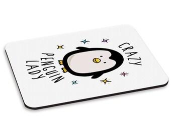 Crazy Penguin Lady PC Computer Mouse Mat Pad