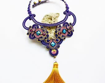 Purple and goldenrod statement soutache necklace with swarovski crystals