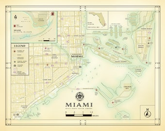 """Miami 11""""x14"""" [vintage inspired] artistic road map print"""