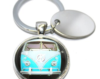 Engraved / personalised blue vw bus metal keyring in velvet gift pouch AA54