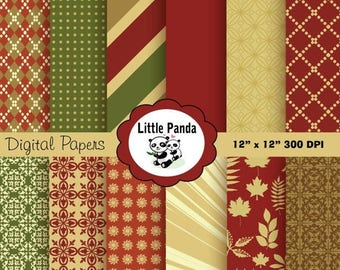80% OFF SALE Thanksgiving Digital Scrapbooking Papers 12 jpg files 12 x 12 - Instant Download - D169