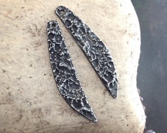 Handmade Long Textured Drop Charms, Facing Pair, Handcrafted, Jewelry Supplies No. 616CD