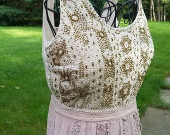 Beaded Taupe Lace Cowgirl Boho Gypsy Dress