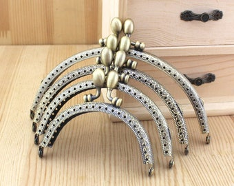1 PCS, Various Size Curved Solid Beaded Bronze Kiss Clasp Lock Purse Frame, K035