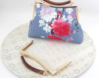 1 PCS, 20.5cm / 8.4 inch, Squared  Beaded Plastic Handle Style Purse / Kiss lock Purse Frame, K564