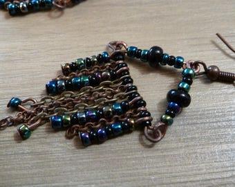Iridescent black seed beads earrings