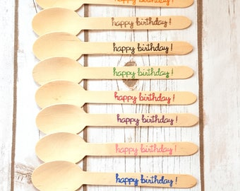 24 Happy Birthday Stamped Wooden Utensils, Wooden Spoons Forks and Knives, Your Choice of Color