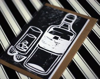 Gin - Original Linoprint G&T Greeting Card in Black - Blank with Vegan Envelope - 100% Recycled Paper Biodegradable Packaging