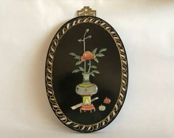 OVAL ORIENTAL PLAQUE,Black Lacquer Plaque, Oval Chinese Plaque, Asian Wall Art, Carved Stone Relief, Jade Like Stone, Orange Green Yellow