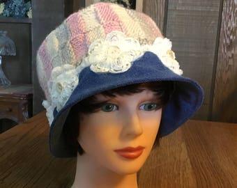 Denim Cloche, Blue Jean Cloche, Blue Jean Fedora, Refashioned Blue Jeans, Refashioned Knit Sweater, Hippy Hat