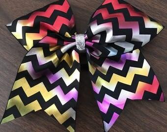 Rainbow chevron bow