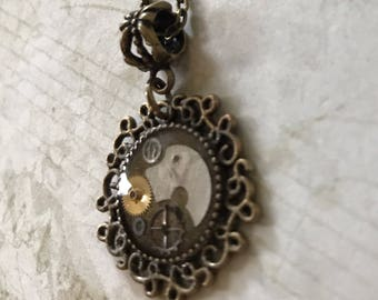 Round Small Steampunk Gears Resin Necklace Pendant (or Keychain) Unusual Repurposed Upcycle STPK793