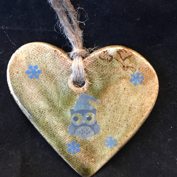 owl heart ceramic ornament