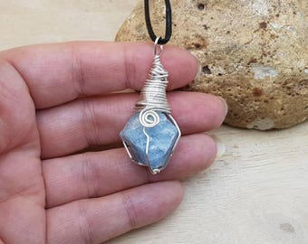 Raw Aquamarine pendant. Blue Reiki jewelry uk. March birthstone. Silver plated Wire wrapped pendant