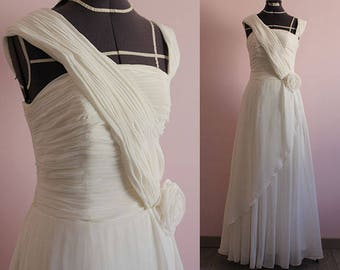 Strapless one shoulder chiffon wedding dress/ 1920s 1930s wedding/ Robe de mariée/ SAMPLE SALE