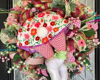 Easter Wreath, Easter Door Hanger, Easter Decoration, Spring Wreaths, Whimsical Wreath, Bunny Wreath, Front door wreaths, RAZ