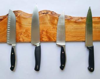 "Magnetic Knife Rack - 18"" Live-Edge Cherry Wood"