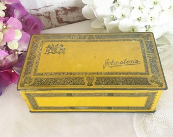 Antique Art Deco tin box, Johnston's Chocolate, Advertising, yellow gold, biscuit canister, vanity, trinket, storage, jewelry trinket