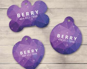 Purple Galaxy Pet ID Tag, Geometric Pet Tag, Custom Pet Tag, Personalized Dog Tag, Dog ID Tag, Puppy Tag, Dog ID, Pet Tag, Cat Tag (0010)