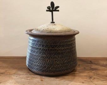 Large Jean Yates Lidded Ceramic Pot w Abstract Brass Handle California 1960s