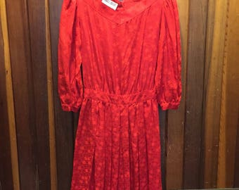 1980S // RED SILK // Vintage Maggy London By Jeannene Booher Red Dress