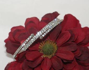 Swarovski crystal cuff bracelet, bridal crystal coil bracelet, Swarovski crystal bracelet, bridesmaids crystal bracelet, bridesmaids jewelry