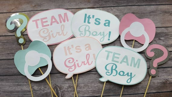 Gender reveal photobooth props