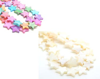 20 Pearl 12mm star shaped beads, multicolored or white