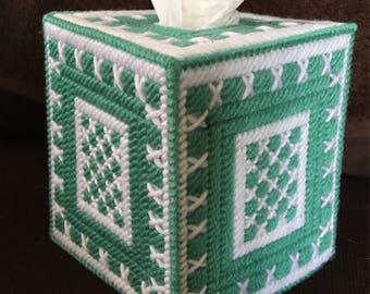 White and Shoreline Tissue Box  Cover