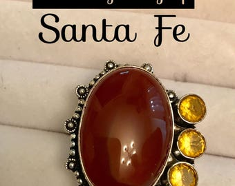 Carnelian citrine .925 silver ring 9