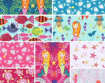 Michael Miller Sea Buddies & Mer-Mates ~ BUNDLE ~ Fat Quarter or Half Yard ~ Cute Children's Mermaid Ocean Fabric