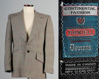 SALE Mens Vintage 70s Wide Rounded Lapel Green Plaid Tailored Jacket Blazer Sportcoat 40R 40S