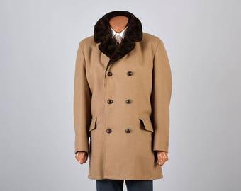 44 Large Mens Winter Coat 70s Coat Double Breasted Coat Heavy Winter Coat Tan Wool Coat Plush Brown Lining Brown Coat Hippie Coat Boho Coat