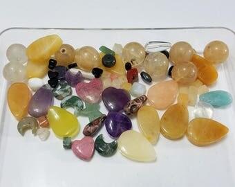 Gemstone, Lot, Semi-Precious, Stone, Mixed, Agate, Jasper, Rhodonite, Amethyst, Calcite, Round, Beads, Jewelry, Beading, Supply, Supplies